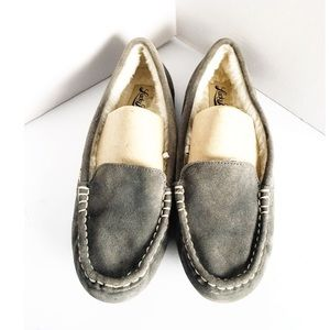 Lucky Brand Moccasins Grey Faux Fur Slippers Aliss